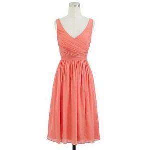 J Crew Heidi Silk Chiffon Dress in Bright Coral